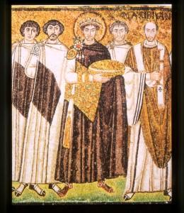 Kaiser Justinian (+565), Mosaik in Ravenna